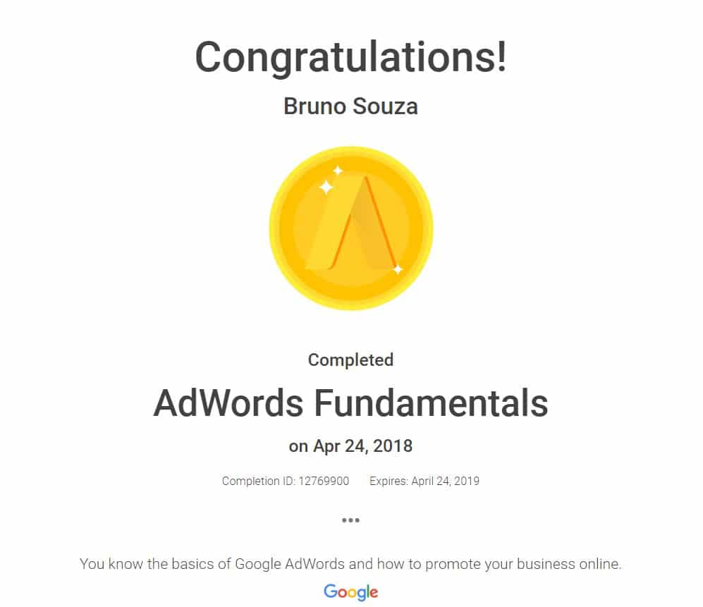 Black Swan Media Co Google Adwords Fundamentals Qualification